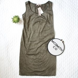 Philosophy | NWT Green Leather Suede Fitted Dress